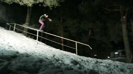 snowboard : Snowboarding at night