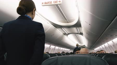 авиашоу : On the plane flight attendants show output Стоковые видеозаписи