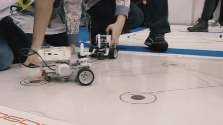 robots : Robot on wheels travels trajectory on the floor Stock Footage