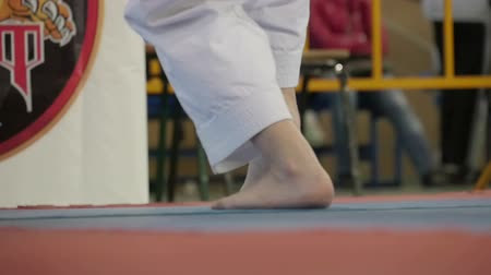 might : Karateka feet closeup Stock Footage