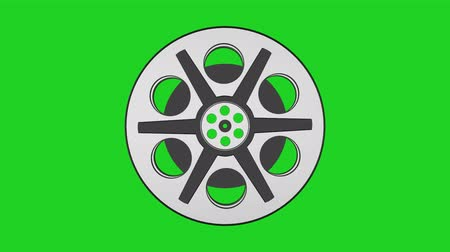 video reel : 3D Animation of Camera Film Reel, seamless Loop animation with green screen  Rotating Camera Film Reel, with green screen
