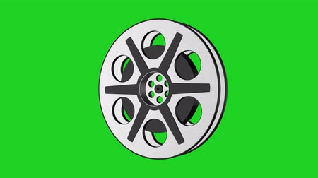 projeção : 3D Animation of Camera Film Reel, seamless Loop animation with green screen  Rotating Camera Film Reel, with green screen