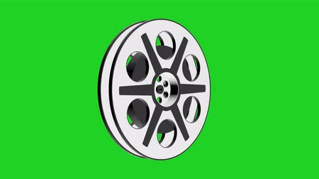 blockbuster : 3D Animation of Camera Film Reel, seamless Loop animation with green screen  Rotating Camera Film Reel, with green screen