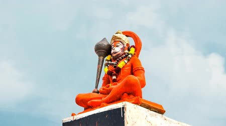dussehra : Hindu god Hanuman magically praying.  Hindu God Hanuman idol Stock Footage