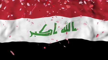 гордый : 4k Realistic 3D detailed slow motion Iraq flag , Falling Rose petals on flying Iraq Flag Animated Background,   Waving Iraq Flag Background, 4k Render, 3D animation Стоковые видеозаписи