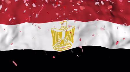gururlu : 4k Realistic 3D detailed slow motion Egypt flag , Falling Rose petals on flying Egypt Flag Animated Background,   Waving Egypt Flag Background, 4k Render, 3D animation