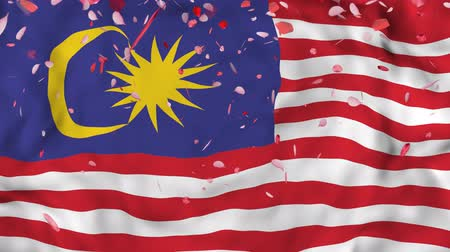 západ : 4k Realistic 3D detailed slow motion Malaysia flag , Falling Rose petals on flying Malaysia Flag Animated Background,   Waving Malaysia Flag Background, 4k Render, 3D animation