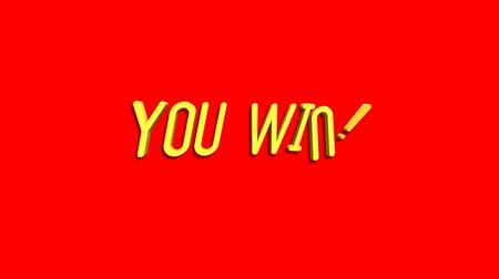 you win : You Win motion graphics animation on black background. Seamless Loop animated background.