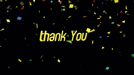 sayesinde : Thank You motion graphics animation on black background. Seamless Loop animated background.