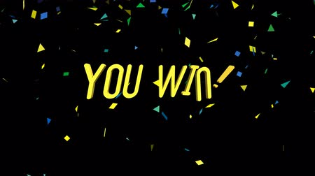 You Win motion graphics animation on black background. Seamless Loop animated background.