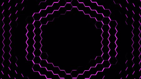 kibertérben : Hexagon Abstract Futuristic Background Seamless Loop Animation, Motion Graphics Element Stock mozgókép