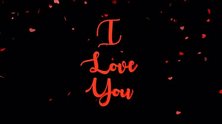 я тебя люблю : I Love You lettering with falling heart in background.