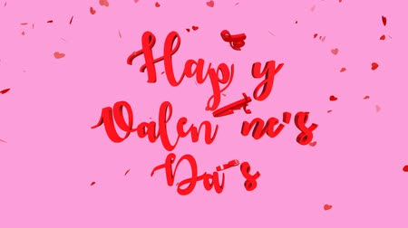я тебя люблю : Happy Valentines Day lettering with falling heart in background.  Happy Valentines Day Text animation for motion graphics. Стоковые видеозаписи
