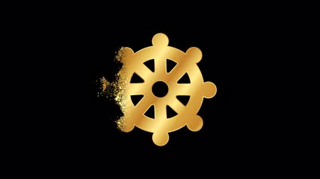 trident of shiva : Wheel of Dharma Religious symbol Animation, Particle Animation of Religious Icon Buddha eye.  Religious sign Wheel of Dharma Animation.