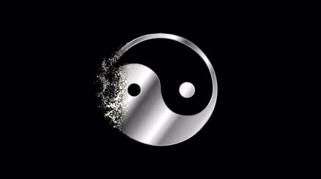 daoism : Yin Yang Religious symbol Animation, Particle Animation of Religious Taoism Icon.   Religious sign Daoism Animation. Stock Footage