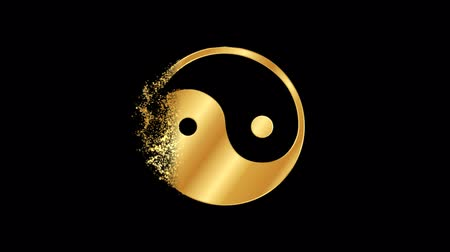 yin and yang : Yin Yang Religious symbol Animation, Particle Animation of Religious Taoism Icon.   Religious sign Daoism Animation. Stock Footage