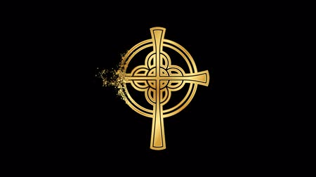 Celtic Cross Religious symbol Animation, Particle Dust Animation of Religious Celtic Cross Icon.   Religious sign Celtic Cross Animation. Particle dust Sign Celtic Cross. Stock Footage