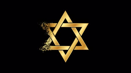 Star of David Religious symbol Animation, Particle Animation of Religious Star of David Icon.   Religious sign Star of David Animation. Particle dust Sign Star of David. Wideo