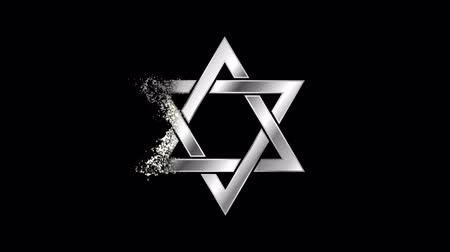 jewish : Star of David Religious symbol Animation, Particle Animation of Religious Star of David Icon.   Religious sign Star of David Animation. Particle dust Sign Star of David. Stock Footage