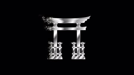 Japanese torii gate Religious symbol Animation, Particle Animation of Religious Japanese torii gate Icon.   Religious sign Japanese torii gate Animation.