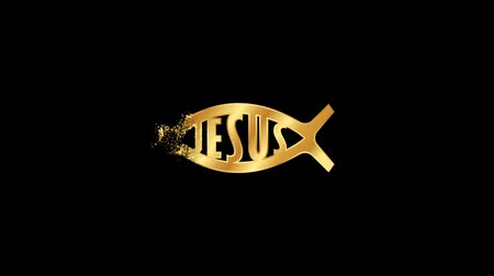 Jesus Fish Religious symbol Animation, Particle Animation of Religious Jesus Fish Icon.   Religious sign Jesus Fish Animation.
