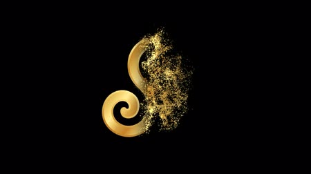 rotational : Triskelion or Triskele Religious symbol Particles Animation, Magical Particle Dust Animation of Religious Triskelion Sign with Rays.
