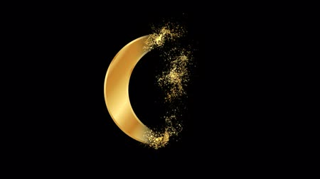 Crescent moon and star Religious symbol Particles Animation, Magical Particle Dust Animation of Religious crescent moon and star Sign with Rays.