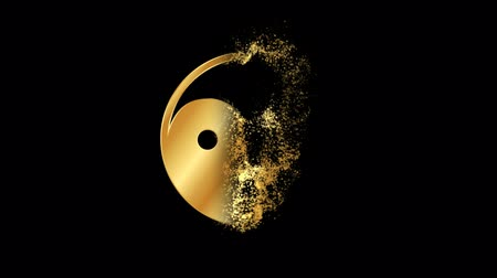 Taoism or Daoism Religious symbol Particles Animation, Magical Particle Dust Animation of Religious Taoism or Daoism Sign with Rays. Wideo