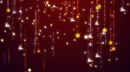 Christmas snowflakes and ornaments background  - falling snow, star, deer and particles.