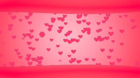 Loop Creative flying Heart Background. Connected floating hearts. Romantic Background for Valentines day, Party, wedding etc,