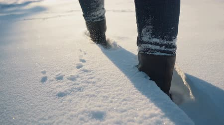 fur boots : Girl walks in the snow
