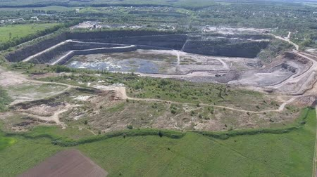 pedreira : Aerial View. Flying over the work in a mining career. Development of the career. Aerial camera shot. Landscape panorama.