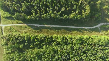 AERIAL : Flight over a country road Stock Footage