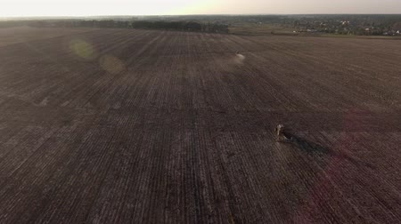 Video Footage aerial view combines harvesting top view