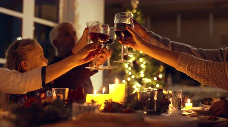 vacsora : Family toasting wine at christmas dinner. Family enjoying christmas dinner together at home, with focus on hands and wine glasses. Stock mozgókép