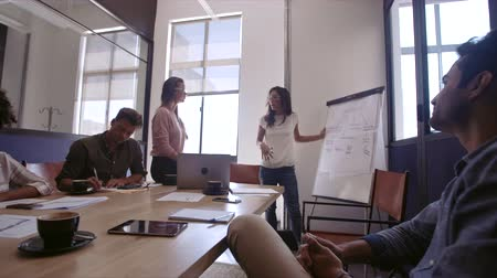 Business woman presenting a business plan to her colleagues in boardroom. Men and woman entrepreneurs during new business strategy meeting Stok Video