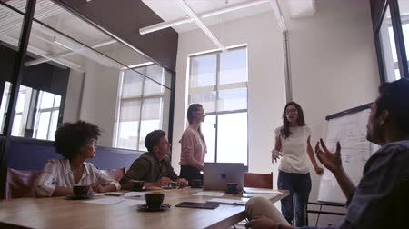 Asian businesswoman explaining new business strategy to coworkers in conference room. Businesspeople during presentation in board room.