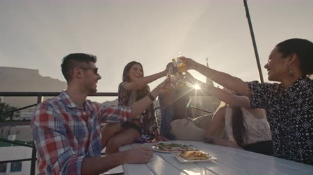 Young people toasting drinks at a rooftop party. Young friends hanging out with drinks on terrace. Stok Video