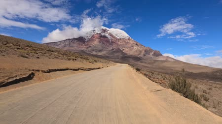 chimborazo : Driving thru Ecuadorian Andes on the way up to Chimborazo refugee at 5000m altitude. You can see the volcano and the car speeding on a bumpy road. Stock Footage