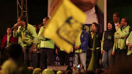 agua : BANOS DE AGUA SANTA,ECUADOR - 21 JANUARY 2013:President of Ecuador Rafael Correa speaks about opposition during his electoral campaign,Banos de Agua Santa, 21 JANUARY 2013 Stock Footage