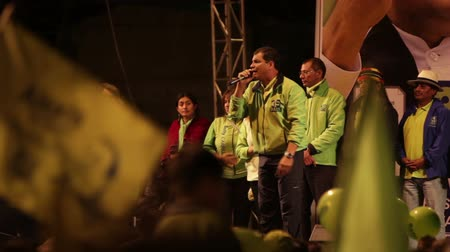 agua : BANOS DE AGUA SANTA,ECUADOR - 21 JANUARY 2013: President of Ecuador Mr.Rafael Correa speaks about achievements of his governance that are meant to lower  criminal indexes in his country,during presidential campaign, Banos de Agua Santa, 21 JANUARY 2013 Stock Footage