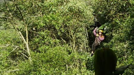 esőerdő : Young woman while zipline in the Ecuadorian rainforest, camera pans to meet the talent.