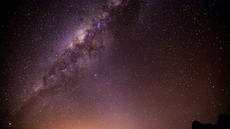 chimborazo : Night time lapse of Sagittarius A, a super massive black hole that is believed to be center of our galaxy. Shoot from Chimborazo volcano the farthest point on the Earths surface from the Earths center. Stock Footage
