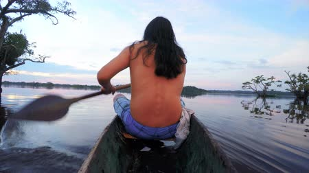 indigene : Indigenous man on wooden canoe , on board camera , shot from the back side of boat against beautiful sunset Stock Footage