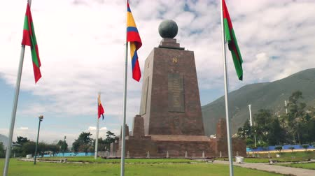 quito : Mitad del Mundo (Center Of The world) monument pan left to right, Quito Ecuador
