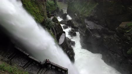 diablo : Pailon Del Diablo or Devils Cauldron waterfall in Ecuador tourists snapping travel pictures