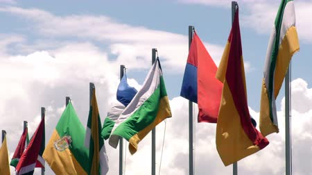 quito : Ecuadorian flags in high-speed winds, slow motion