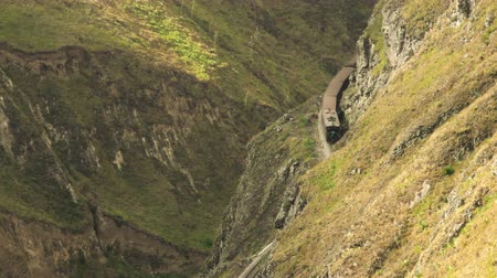 diablo : Touristic train at Nariz del Diablo in Ecuadorian Andes, high angle shot emphasis the altitude and complexity