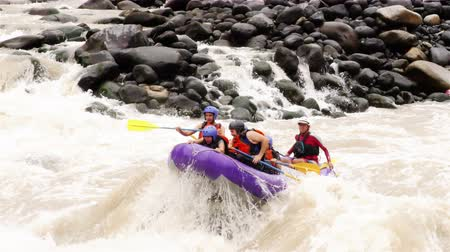 белый : Group Of People Whitewater Rafting On Pastaza River, Tracking Shot From External Camera Slow Motion Стоковые видеозаписи