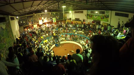 interdiction : Banos, Ecuador - 06 February 2016: Time Lapse From Cockfight Arena Filled With People During A Major Fight In Banos On February 06, 2016